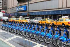 NY city bikes. NEW YORK, USA - JULY 1, 2013: Citibike bicycle sharing station in New York. With 330 stations and 6,000 bicycles it is one of top 10 bike sharing Stock Photo