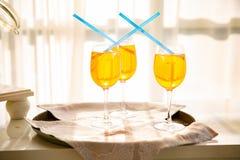 Ny coctail med apelsinen, mintkaramellen och is, selektiv fokus royaltyfri bild