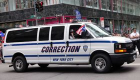 NY Correction Vehicle At The Puerto Rican Day Parade. Hundreds of thousands came out to celebrate the National Puerto Rican Day Parade 2018 in Manhattan, NY Royalty Free Stock Images