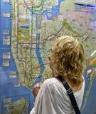 NY de metrokaart en toerist van de Stad. Stock Foto's