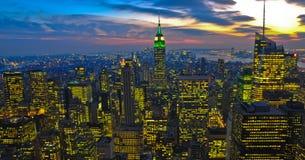NY, estado da baixa do império, nightview Imagens de Stock Royalty Free