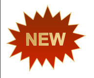 ny etikett för logo Arkivfoto