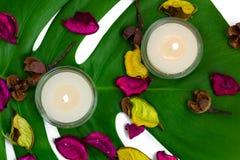 Ny färgrik sammansättning av två brännande stearinljus, doftande potp Royaltyfri Foto