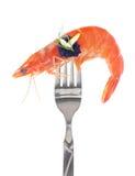Ny färgrik sammansättning med skaldjur på gaffel Royaltyfri Bild