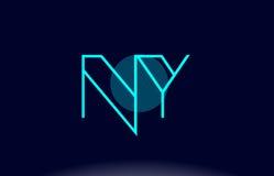 ny för blålinjencirkel för n y vecto för mall för symbol för logo för bokstav för alfabet Arkivbilder