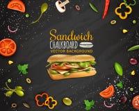 Ny för svart tavlabakgrund för smörgås affisch för annonsering stock illustrationer