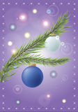 NY fir. Christmas picture with fir branch and christmas balls Stock Image