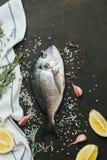 Ny fisk med salt, peppar, aromatiska örter och grönsaker över tappningmörkerbakgrund Royaltyfria Foton