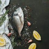 Ny fisk med salt, peppar, aromatiska örter och grönsaker över tappningmörkerbakgrund Royaltyfri Bild