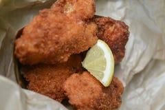 Ny fisk och chiper med citronskivan Royaltyfri Foto