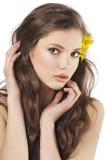 ny flickayellow för blomma Arkivfoto