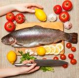 Ny forell med grönsaker på skärbräda Arkivbild