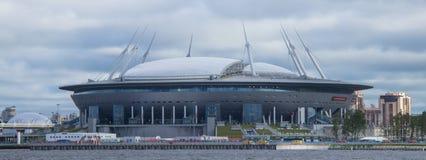 Ny fotbollstadion i St Petersburg royaltyfria bilder