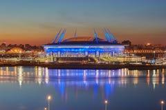 Ny fotbollstadion på den Krestovsky ön i St Petersburg, Russi Arkivfoto