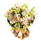 Ny frodig bukett av färgrika blommor som isoleras på vit bakgrund Royaltyfria Bilder