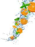 Ny frukt i vattenfärgstänk över vit Royaltyfri Fotografi