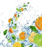 Ny frukt i vattenfärgstänk över vit Arkivbilder