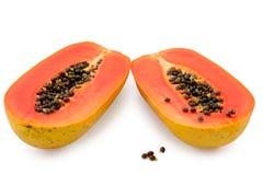 ny frukt isolerad tropisk white för papaya Arkivbilder