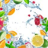 Ny frukt med vattenfärgstänk arkivfoton