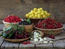 Ny frukt och bär i korgar på träbakgrund arkivfoton