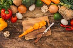 Ny frukt och grönsak Sikt från ovannämnt med kopieringsutrymme arkivfoton