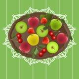 Ny frukt på ett magasin Arkivbild
