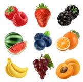 Ny frukt symbolsuppsättning för vektor 3d realistisk ballonsillustration royaltyfri illustrationer