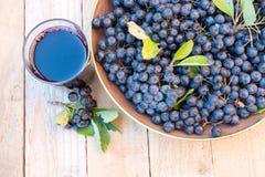 Ny fruktsaft av den chokeberryAronia melanocarpaen i exponeringsglas och bär i kruka på träbakgrund royaltyfri bild