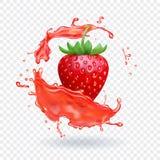 Ny fruktsaft för jordgubbe Realistisk vektorsymbol för frukt vektor illustrationer