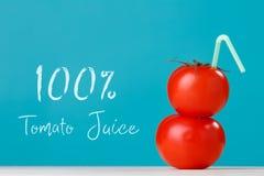 ny fruktsaft för tomat 100 med ett sugrör Fotografering för Bildbyråer