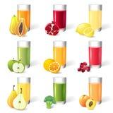 Ny fruktsaft med frukter stock illustrationer