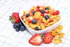 ny frukttablecloth för cornflakes royaltyfri fotografi