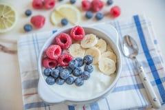 ny fruktyoghurt Arkivbild
