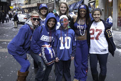 NY Giants fans celebrates Super Bowl win Royalty Free Stock Photos