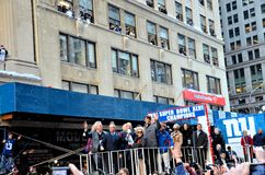 NY Giants Victory Parade. Eli Manning, Steve Tisch, NY Mayor Bloomberg, Jonathan Tisch and Ann Mara (holding the Lombardi Trophy) during NY Giants ticker-tape royalty free stock photos