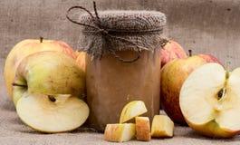 Ny gjord applesauce med äpplen arkivbilder