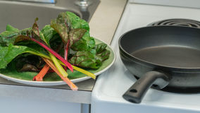 Ny grön grönsaksidor och panna Arkivbilder