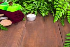 Ny grön ormbunke, stearinljus, stenar, grön tvål och handduk för brunnsort Royaltyfri Fotografi