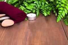 Ny grön ormbunke, stearinljus, stenar och handduk för brunnsortmassage Fotografering för Bildbyråer
