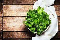 Ny grön sallad i en maträtt över träbakgrund Banta mat Arkivbilder