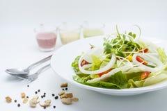 Ny grön sallad med färgrika dressingar Royaltyfri Foto