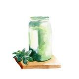 Ny grön smoothieillustration Hand dragen vattenfärg på vit bakgrund Arkivbilder
