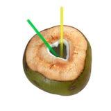 Ny grön ung kokosnöt med för snitt hjärtaform ut och sugrör som isoleras på vit bakgrund Arkivbild