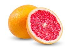 Ny grapefrukt med den saftiga skivan som isoleras på Arkivbilder