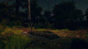 Ny grav i spöklik skog på den regniga natten 4K vektor illustrationer