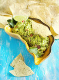 Ny guacamole med havretortillachiper royaltyfri fotografi