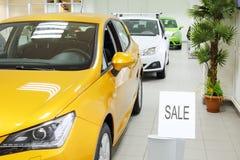 Ny guling, vit och gröna glänsande bilar står den near palmträdet arkivbilder