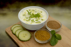 Ny gurka Raita och ingredienser Arkivbilder