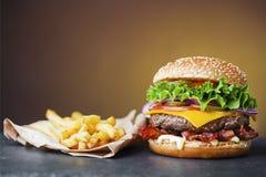 Ny hamburgare med franska småfiskar arkivfoton