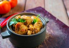 Ny hemlagad feg curry med kyligt i keramisk bunke för tappning arkivfoto